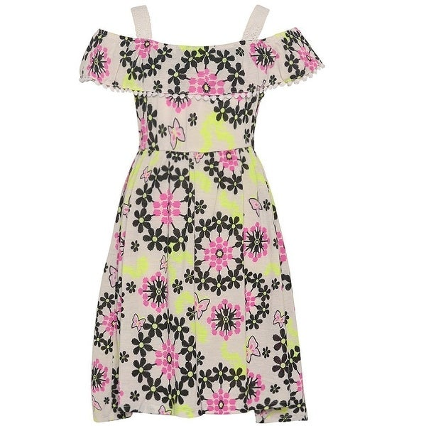 8f3e281145ba Shop Girls Pink Black Butterfly Floral Print Off-Shoulder Casual Dress -  Free Shipping On Orders Over  45 - Overstock - 18162554