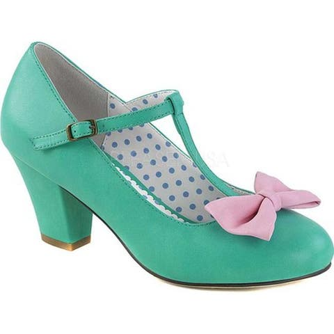 Pin Up Couture Women's Wiggle 50 T-Strap Teal/Pink Faux Leather