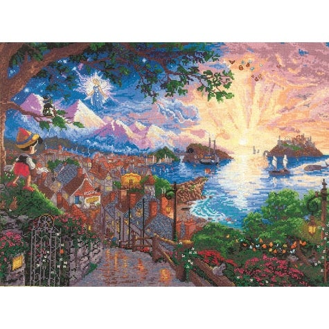 "Disney Dreams Collection By Thomas Kinkade Pinocchio Wishes-16""X12"" 18 Count"