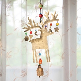 Reindeer Chime - Hand Cut Iron With Beads Trinkets And Bell