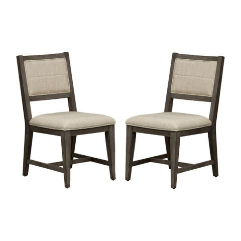 Crescent Creek Weathered Grey Upholstered Side Chairs (Set of 2)