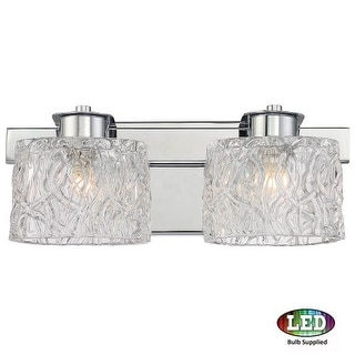 """Platinum PCSW8602LED Seaview 2 Light 15"""" Wide Bathroom Vanity Light with Glass Bell Shades"""