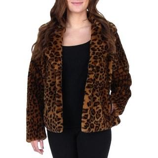 Via Spiga Womens Faux Fur Coat Leopard Print Winter