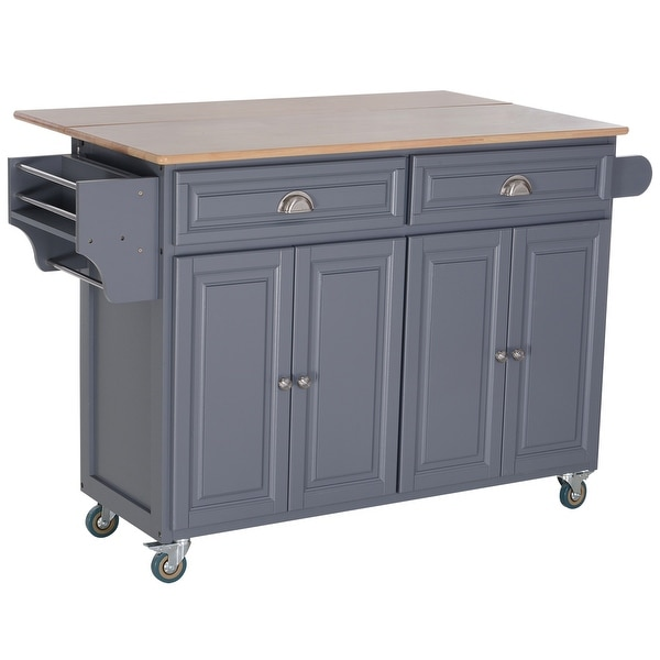 Shop HomCom Rolling Oak Drop-leaf Kitchen Island Cart W