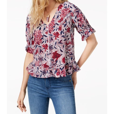 Lucky Brand Red Women Small S Floral Puff Sleeve V-Neck Knit Blouse