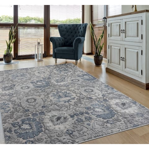 Porch & Den Rich Hi-low Floral Area Rug