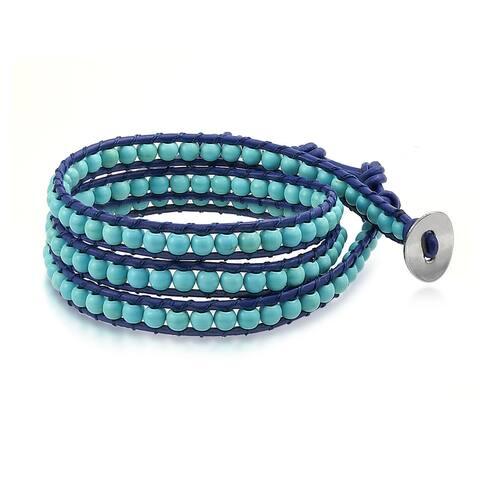 Boho Stabilized Turquoise Bead Genuine Navy Blue Leather Strand Triple Wrap Bracelet For Women Teen For Men