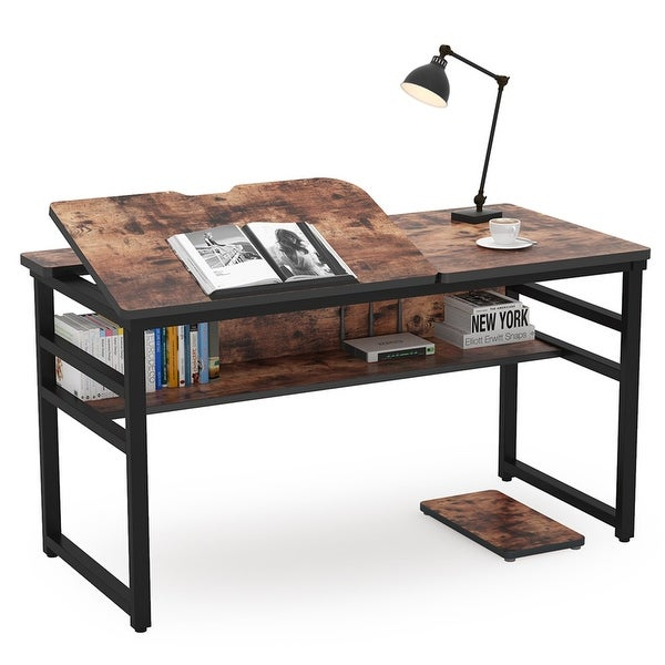 Computer Desk with Storage Shelf Drafting Table. Opens flyout.