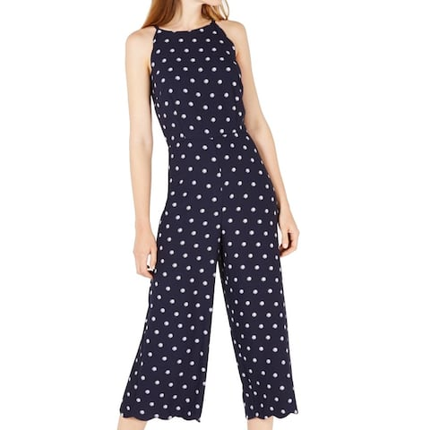Maison Jules Women's Jumpsuit Midnight Blue Size 10 Polka Dot Halter