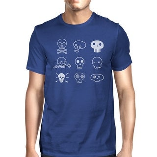 Skulls T-Shirt For Halloween Mens Blue Graphic Tee Short Sleeve