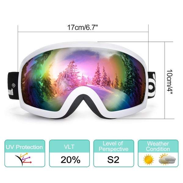 2836b4989c Odoland S2 General OTG Ski Goggles Double Anti-Fog Lenses w  UV400  Protection for