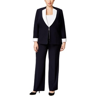 Tahari ASL Womens Plus Faith Pant Suit 2 PC Colorblock