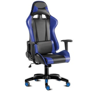 Costway High Back Racing Style Gaming Chair Reclining Office Executive Task Computer (Blue+Black) - Blue+black
