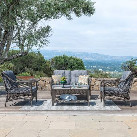 Corvus Vasconia Outdoor 4-piece Brown Wicker Sofa Set