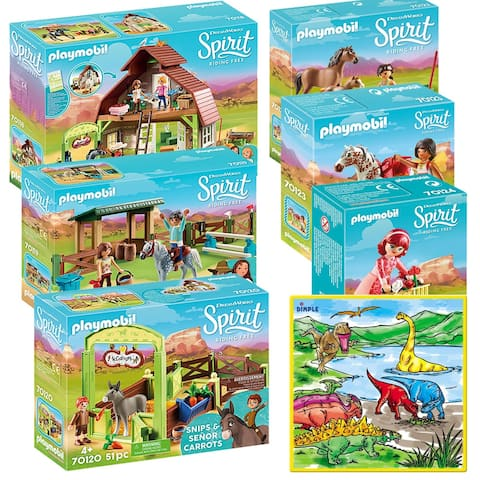 PLAYMOBIL Mega Playset for Kids Spirit Riding Free Barn with Lucky, Spirit, Washable Coloring Playmat with 12 Markers