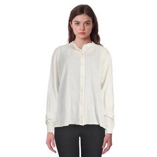 Karen Scott Luxsoft Ribbed Detail Crewneck Button Front Cardigan Sweater Luxsoft White