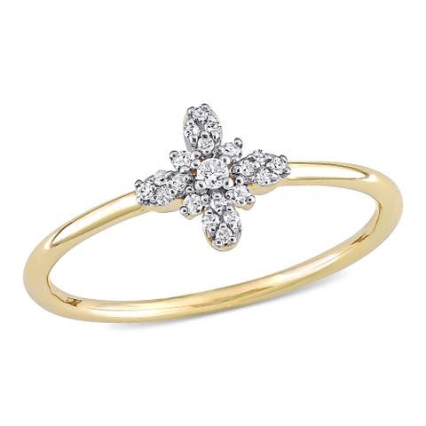 Miadora 10k Yellow Gold 1/10ct TDW Diamond Floral Clustered Ring
