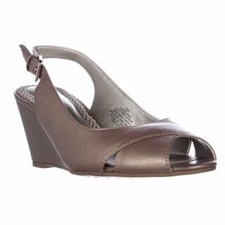 Easy Spirit Belsina Peep Toe Wedge Slingback Dress Pumps - Taupe