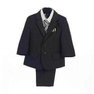 Boys Dark Gray Jacket Vest Pocket Square Tie Shirt Pant 5 Pc Suit