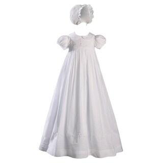 Baby Girls White Handmade Bonnet Christening Dress Outfit