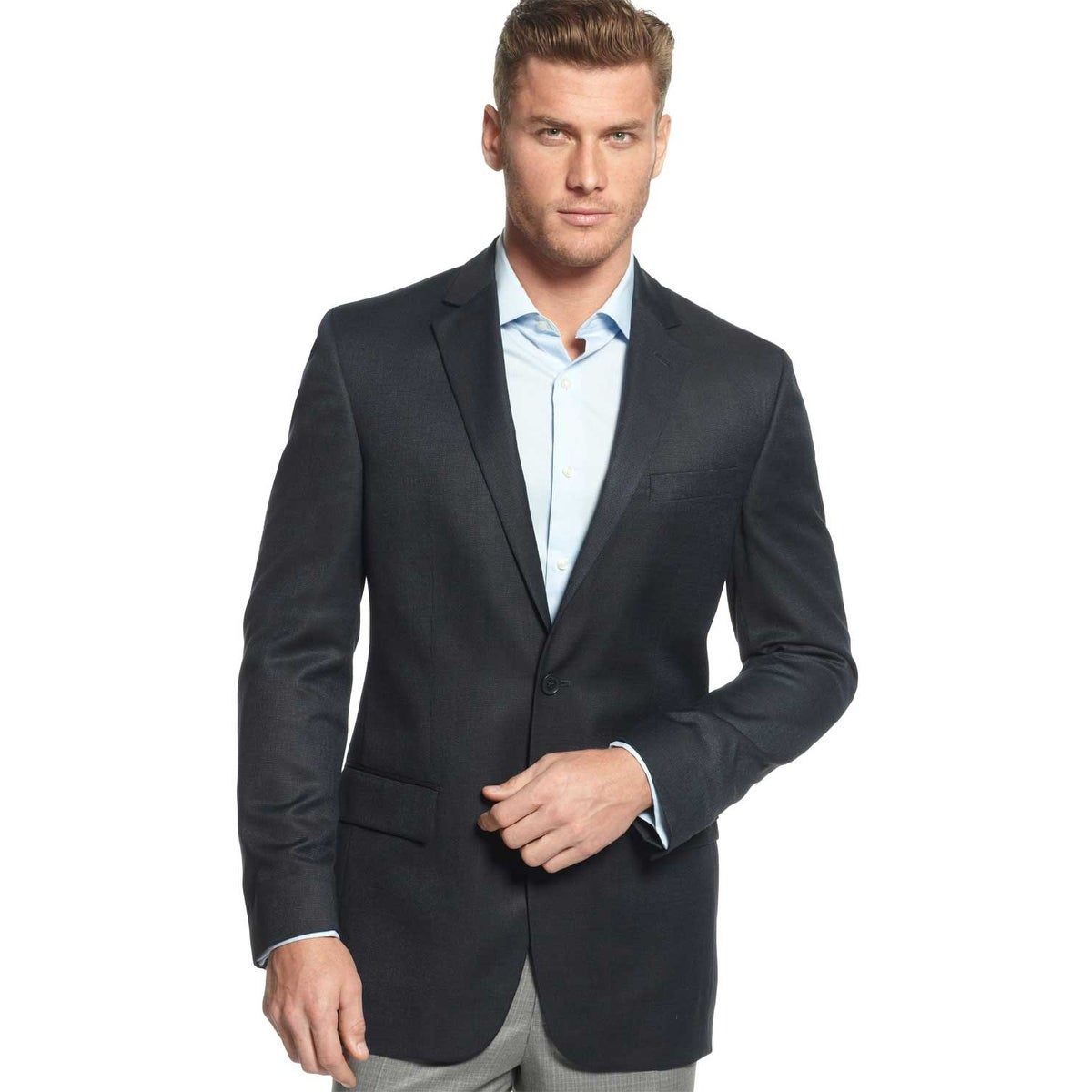 Alfani Mens Navy Pindot Slim Fit Jacket R