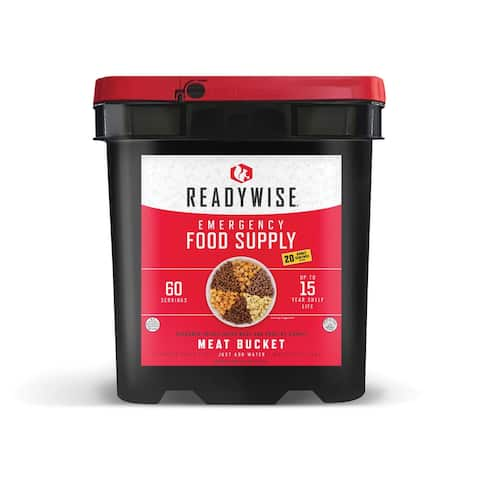 ReadyWise 60 serving Freeze Dry Meat with 20 Bonus Rice Servings - Black - 11x10x15