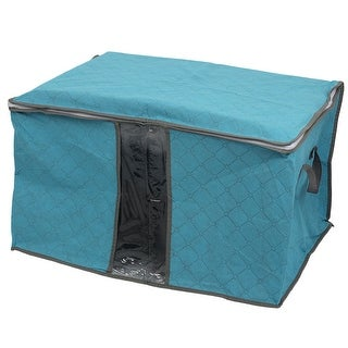 Home Non-Woven Fabric Zippered Clothes Pillow Quilt Storage Bag Organizer Blue