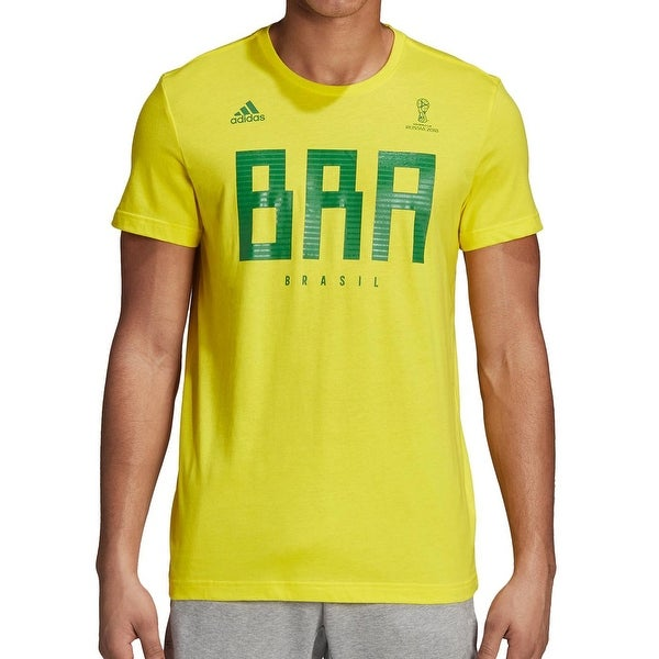 d57fff56 Adidas Yellow Mens Medium M Graphic Brasil Fifa 2018 Tee T-Shirt