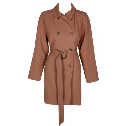 Charter Club Camel Double-Breasted Raglan Sleeve Belted Waist Trench Coat - 10