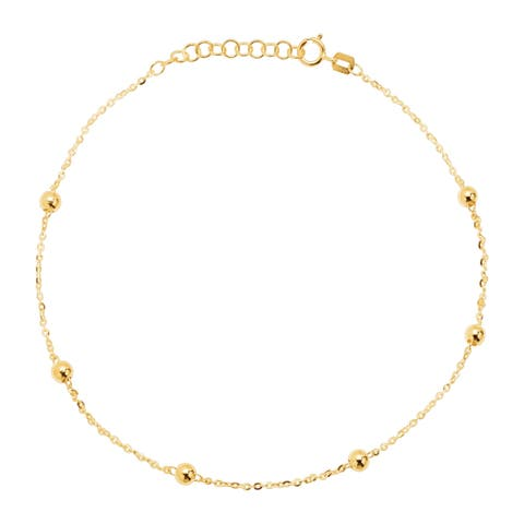 Eternity Gold Beaded Anklet in 14K Gold - Yellow