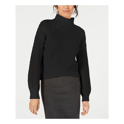Embossed Womens Black Long Sleeve Cowl Neck Sweater Size S