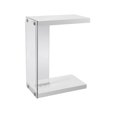 Offex Accent Table - Glossy White With Tempered Glass