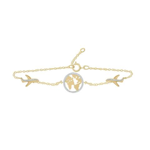 Cali Trove 14KT Yellow Gold White Diamond Aeroplane World Map Bracelet