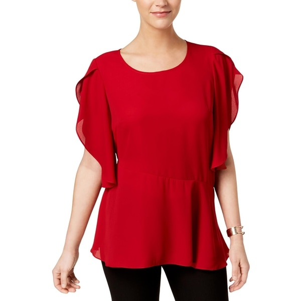 NY Collection Womens Blouse Asymmetric Printed