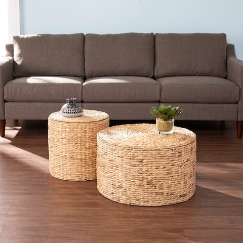 Sachi Coastal Natural Woven Fiber Storage Tables (Set of 2)