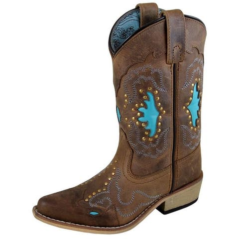 Smoky Mountain Western Boots Girls Moon Bay Snip Toe Brown - Brown Distress Turquoise