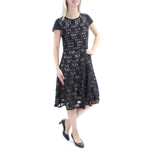 9ff27aa4105f Shop ALFANI Womens Black Lace Floral Cap Sleeve Jewel Neck Below The Knee  A-Line Dress Size  8 - On Sale - Free Shipping On Orders Over  45 -  Overstock - ...