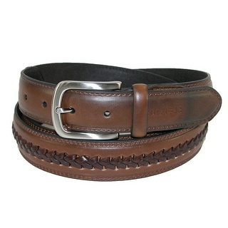 Tommy Hilfiger Men's Leather Belt with Center Lace - Brown