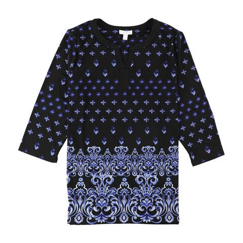 Charter Club Womens Printed Henley Shirt