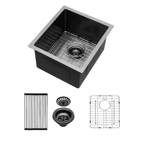 15-inch Black Undermount Stainless Steel Single Bowl Kitchen Sink