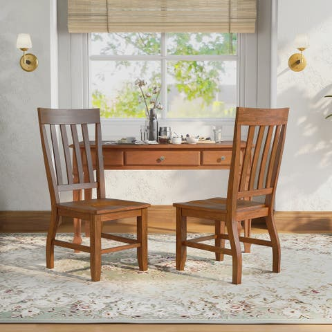 Furniture of America Yizi Country Oak Slat Back Dining Chairs (Set of 2)
