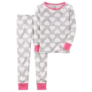 Carter's Little Girls' 2-Piece Heart Snug Fit Cotton PJs, 4 Kids - gray
