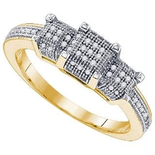 1/4Ct Diamond Micro-Pave Bridal Engagement Ring 10K Yellow-Gold