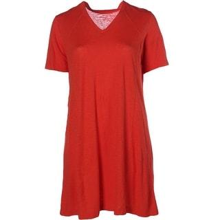 Eileen Fisher Womens Plus Knee Length Slub T-Shirt Dress