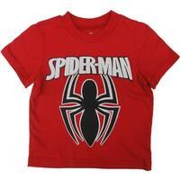 Marvel Little Boys Black Red Spiderman Super Hero Short Sleeved T-Shirt