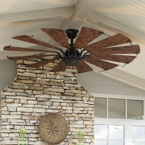 """Luxury Traditional Indoor Ceiling Fan, 17.3""""H x 60""""W, Urban Industrial Style, Architectural Bronze, UHP9020 by Urban Ambiance"""