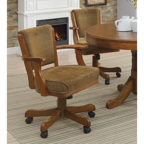 Pia Olive Brown Upholstered Game Chair with Casters