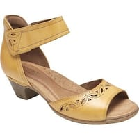 Rockport Women's Cobb Hill Abbott 2 Piece Ankle Strap Sandal Yellow Leather