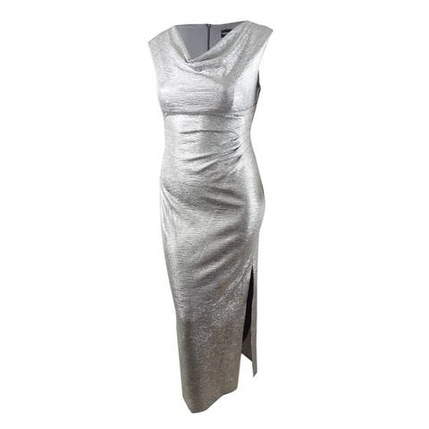 Connected Women's Metallic Cowl-Neck Gown