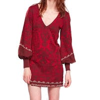 Free People Red V-Neck Women's Size Small S Sweater Mini Dress